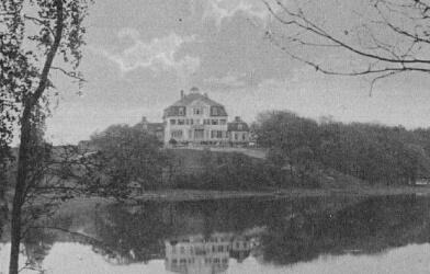 Historische Ansicht vom Seehaus über den See auf einer Postkarte